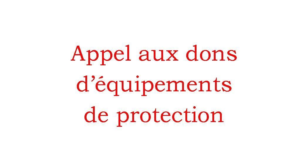 Appel aux dons d'équipements de protection